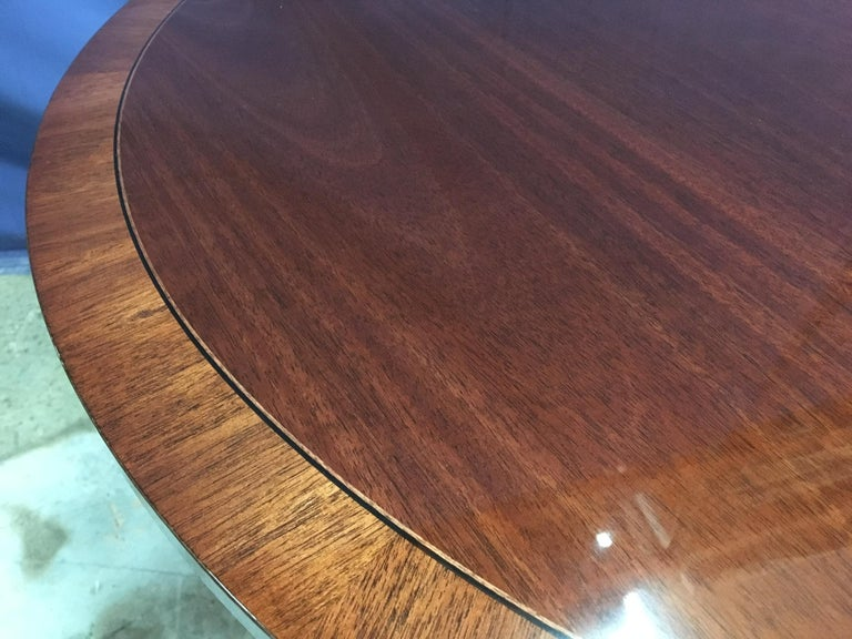 Round Banded Mahogany Georgian Style Accent Foyer Table by Leighton Hall For Sale 3