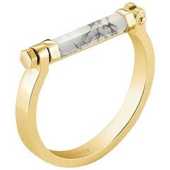 Round Bar Bracelet, Yellow Silver, Howlite