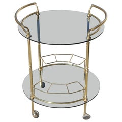 Round Bar Cart Brass and Grey Glass Italian Design 1970 Trolley Liqueur Curved