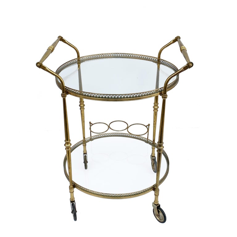 Mid-Century Modern Round Bar Trolley of Maison Baguès, Bar Cart with Bottle Holder, France, 1950s For Sale