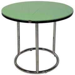 Round Bauhaus Side Table, Chrome, Black and Green Glass, Germany, circa 1930