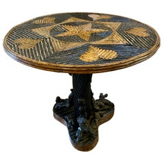 Round Bent Willow Twig Table with Star and Hearts Inlay Adirondack Style