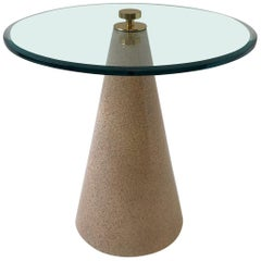 Round Beveled Glass and Faux Granite Lacquered Cone Shape Side Table