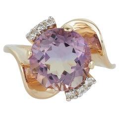 Round Bicolor Ametrine Citrine Amethyst Diamond Swirl Ring 14 Karat Yellow Gold