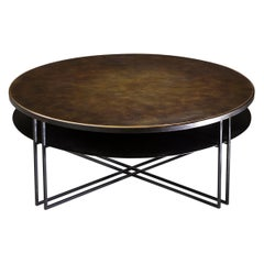 Round Binate Art Deco Minimal Metal Coffee Table