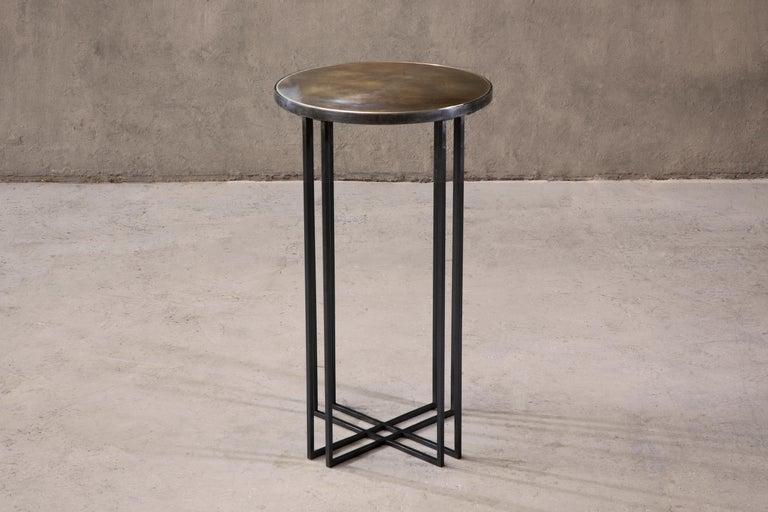 British Round Binate Art Deco Minimal Metal Side Table For Sale