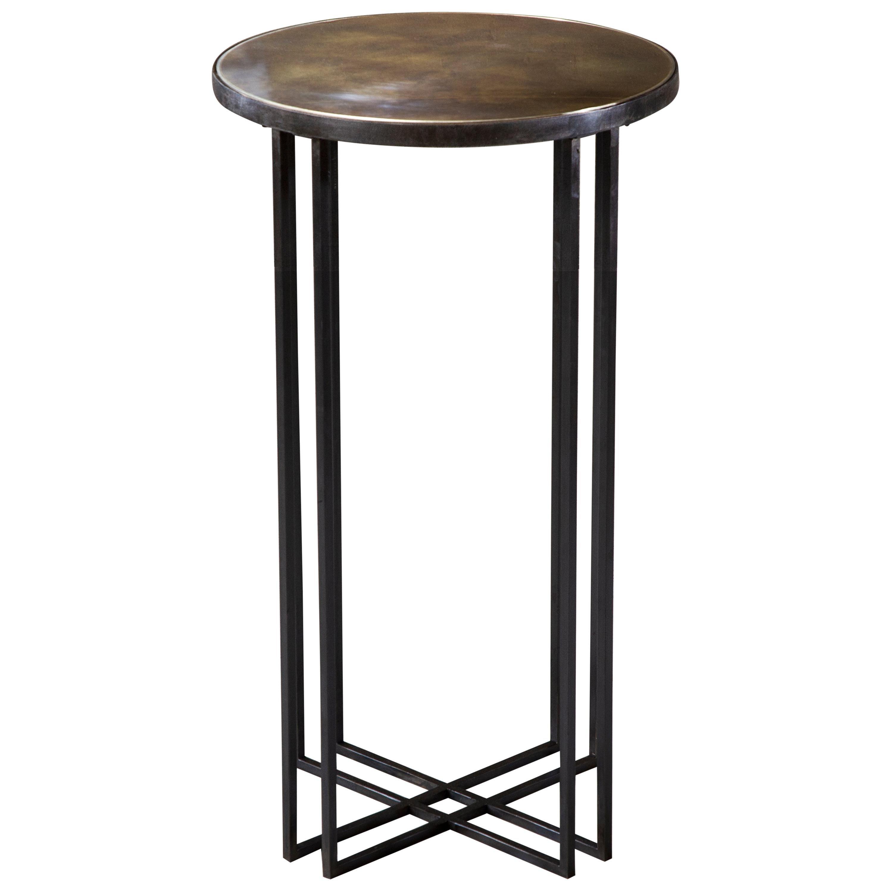 Round Binate Art Deco Minimal Metal Side Table