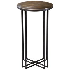 Round Binate Art Deco Minimal Metal Side Table