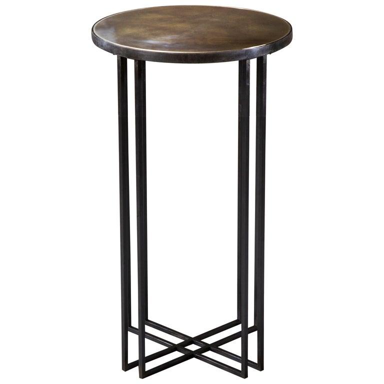 Round Binate Art Deco Minimal Metal Side Table For Sale