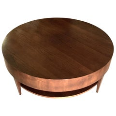 Round Birch Wood Coffee Table, United States, 1980s