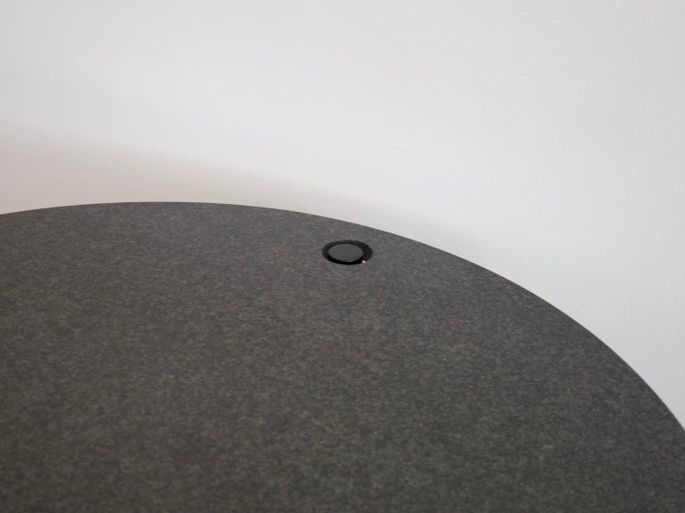 Round Black Lacquered Metal and Granite Dining Table For Sale 4