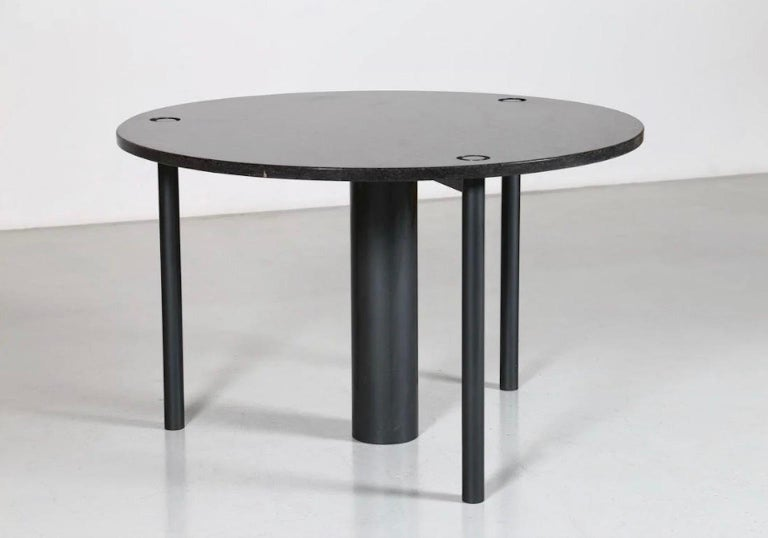 Round Black Lacquered Metal and Granite Dining Table For Sale 6