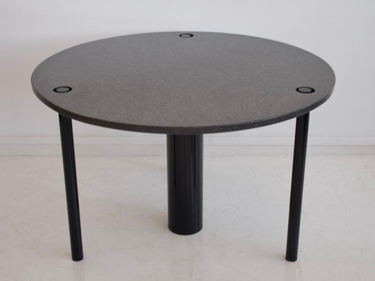 Modern Round Black Lacquered Metal and Granite Dining Table For Sale