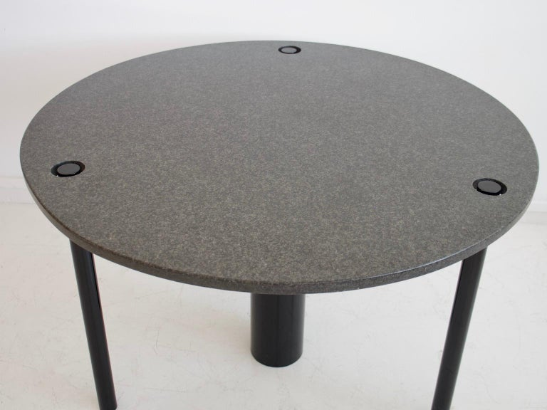 Italian Round Black Lacquered Metal and Granite Dining Table For Sale