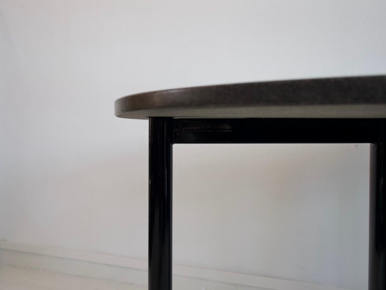 Round Black Lacquered Metal and Granite Dining Table For Sale 3