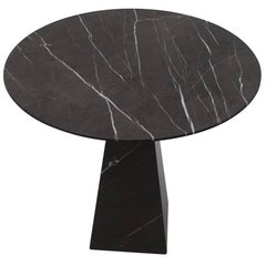 Round Black Marble Side Table, Portugal, Contemporary