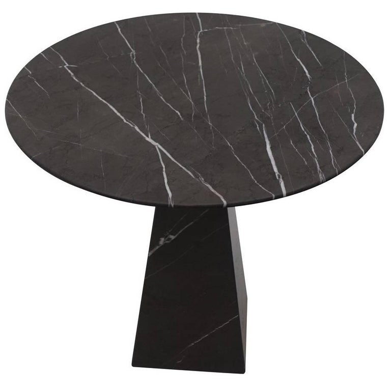 Round Black Marble Side Table, Portugal, Contemporary For Sale