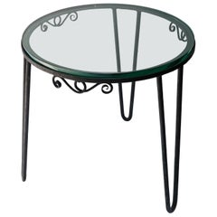 Round Black Metal 1960s Italian Side Table with Glass Top