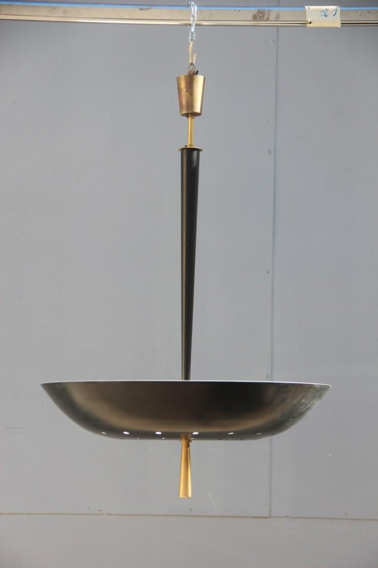 Round Black Modern Italian Chandelier Style Arteluce Arredoluce Metal Brass For Sale 9