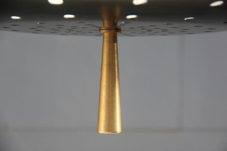 Round Black Modern Italian Chandelier Style Arteluce Arredoluce Metal Brass In Good Condition For Sale In Palermo, Sicily