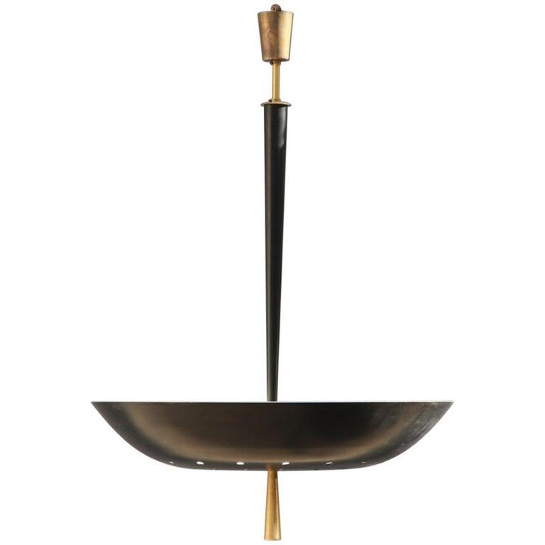 Round Black Modern Italian Chandelier Style Arteluce Arredoluce Metal Brass For Sale