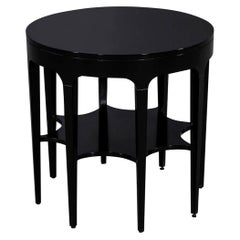 Round Black Modern Star Carved 2 Tier Side Table