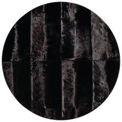 Round Black Oak Cowhide Rug