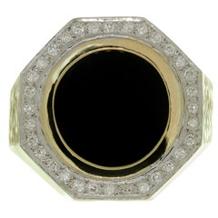 Round Black Onyx Diamond Textured Yellow Gold Men's Large Octagonal Ring