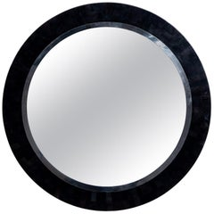 Round Black Pen Shell and Steel Mirror