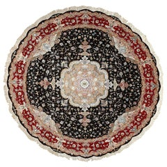 Round Black Vintage Tabriz Persian Rug. Size: 9 ft 10 in x 9 ft 10 in