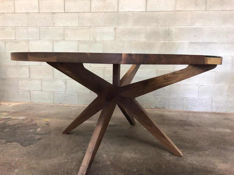 Modern Round Dining Table in Black Walnut  For Sale
