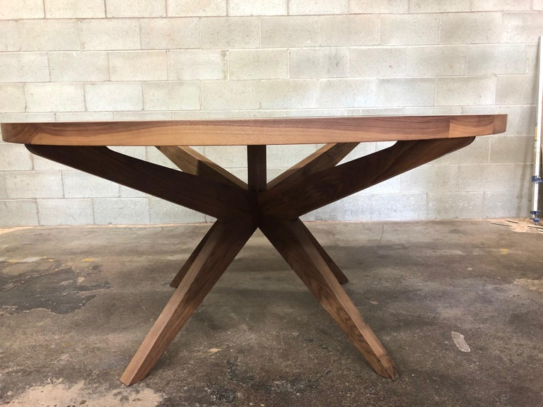 Canadian Round Dining Table in Black Walnut  For Sale