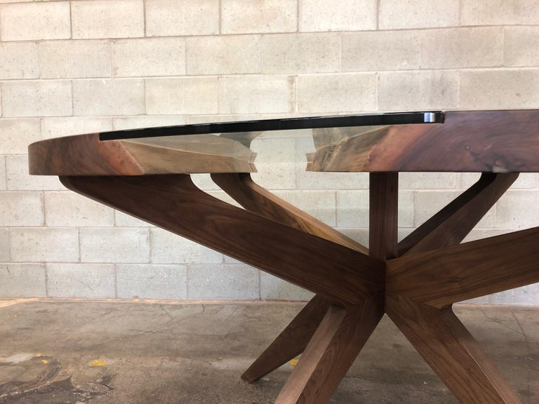 Woodwork Round Dining Table in Black Walnut  For Sale