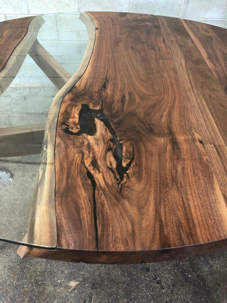 Contemporary Round Dining Table in Black Walnut  For Sale