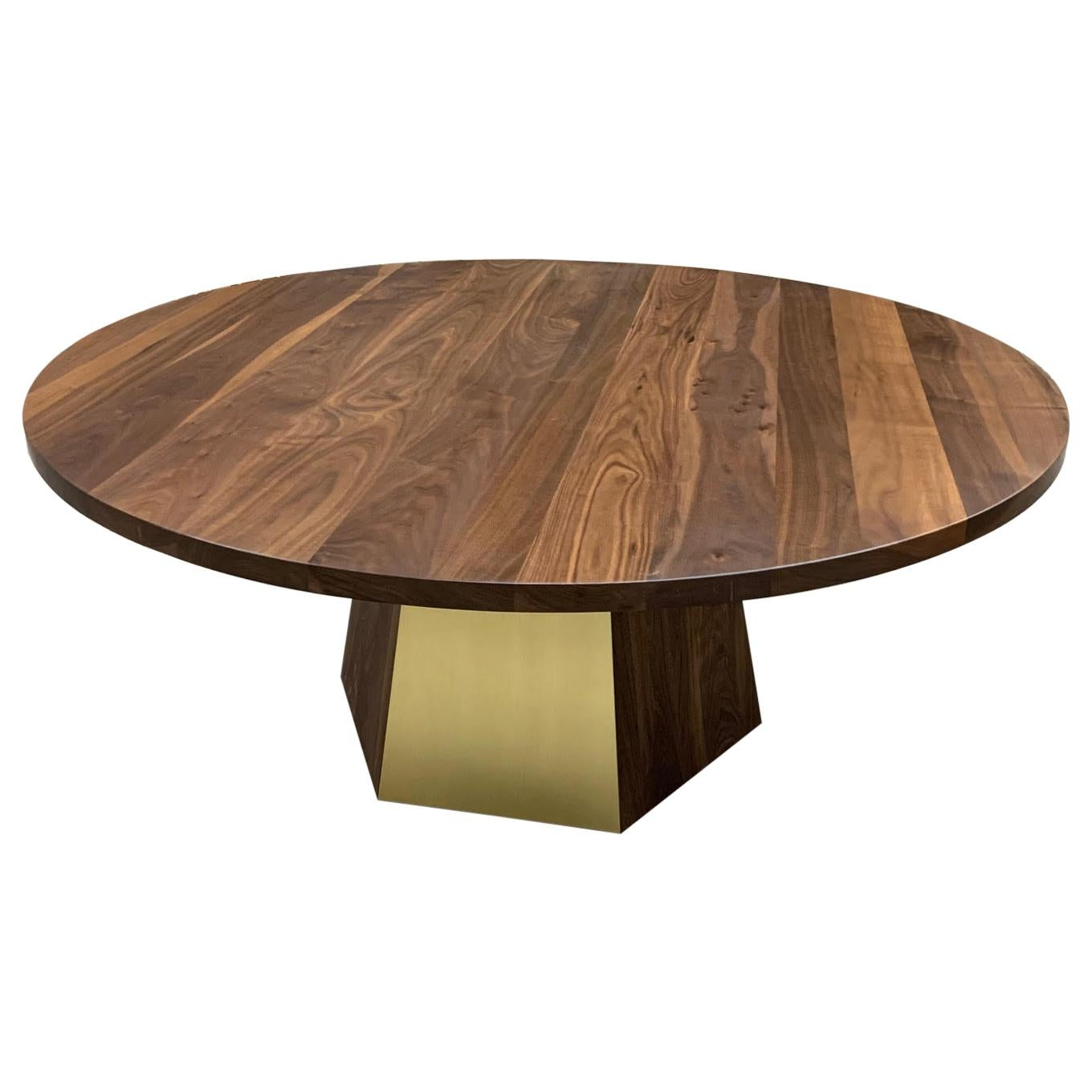 Round Black Walnut Dining with Hexagonal Base and Brass