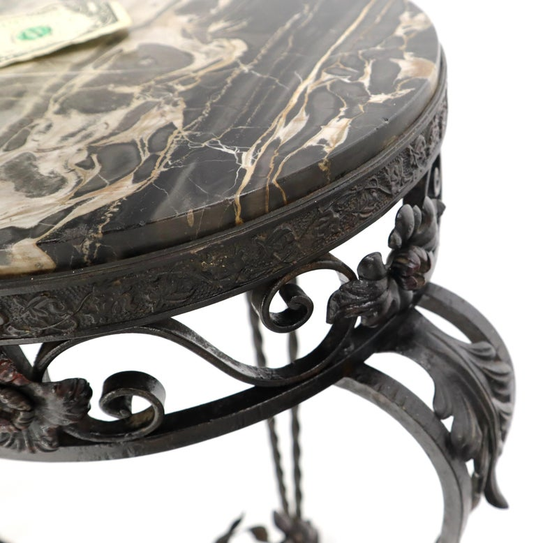 Round Black & White Marble Top Wrought Iron Pedestal Stand Table For Sale 6