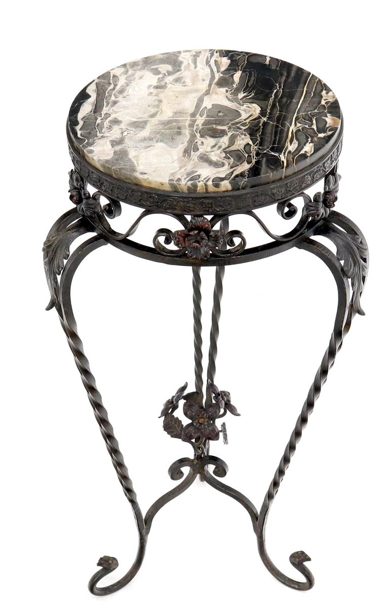 American Round Black & White Marble Top Wrought Iron Pedestal Stand Table For Sale
