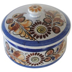Round Blue and Brown Mexican Tonala Ceramic Decorative Box