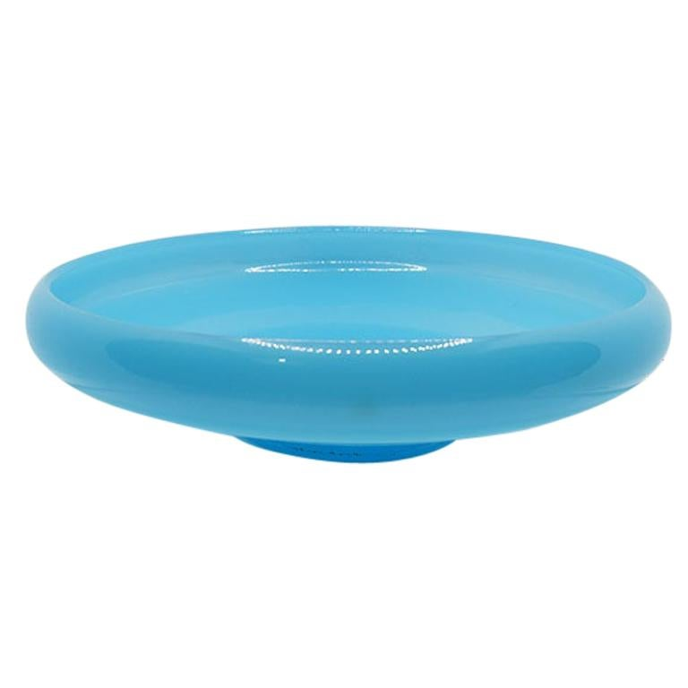 Round Blue Glass Serving Bowl or Planter, Fenton