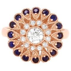 Round Blue Sapphire 14 Karat Rose Gold Diamond Fashion Flower Ring