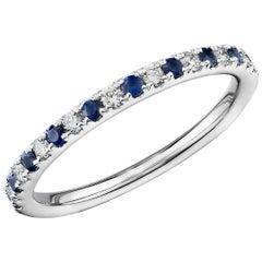 Round Blue Sapphire and Diamond Multi Gem Half Eternity Band 14 Karat White Gold