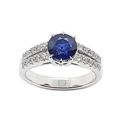 Round Blue Sapphire with Diamond Ring Set in Platinum 950 Settings