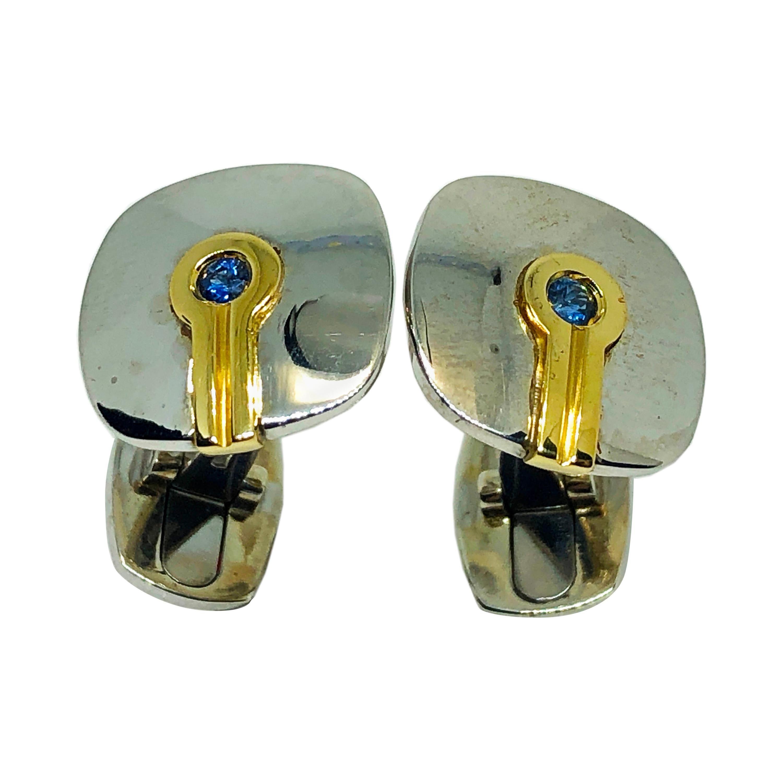 Berca Round Blue Sapphire Yellow White Gold Mirror Finish Cufflinks