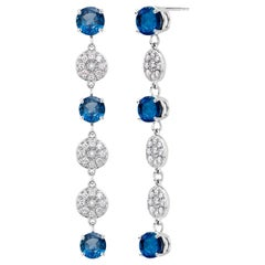 Round Blue Sapphires and Diamonds Drop Earrings