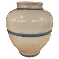 Round Blue Striped Pot, China, Contemporary
