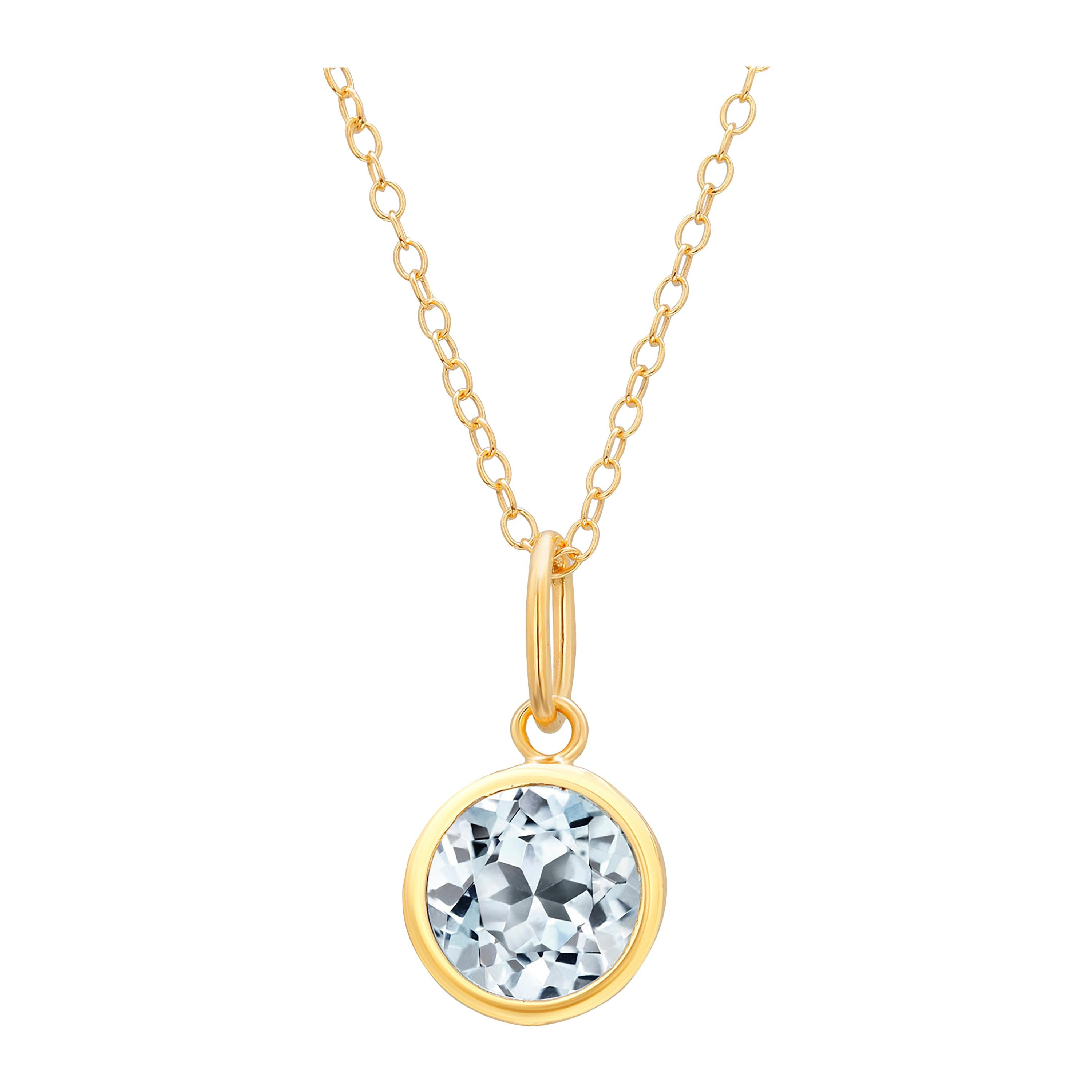 Round Blue Topaz Bezel Set Silver Pendant Necklace Yellow Gold-Plated