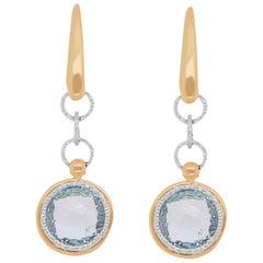 Round Blue Topaz Dangle Earrings 14 Karat Yellow Gold
