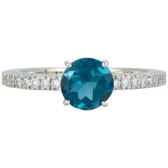 Round Blue Topaz Diamond Solitaire Fashion Ring 14 Karat White Gold Pave Band