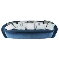 Round Blue Velvet Sofa