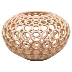 Round Blush / Pink Pierced Tabletop Ceramic Sculpture, In Stock